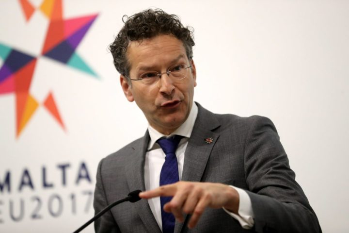 2017-04-07 10:24:38 epa05894216 Jeroen Dijsselbloem, The Netherlands' Minister of Finance speaks during a Eurogroup press conference at the Informal Meeting of Economic and Financial Affairs Ministers (ECOFIN) at the Grandmaster's Palace in Valletta, Malta, 07 April 2017. The informal meeting of EU Finance Ministers, taking place every six months according to the rotating Presidency of the EU Council, runs from 07 to 08 April. Malta took over the EU Presidency on 01 January 2017. EPA/DOMENIC AQUILINA