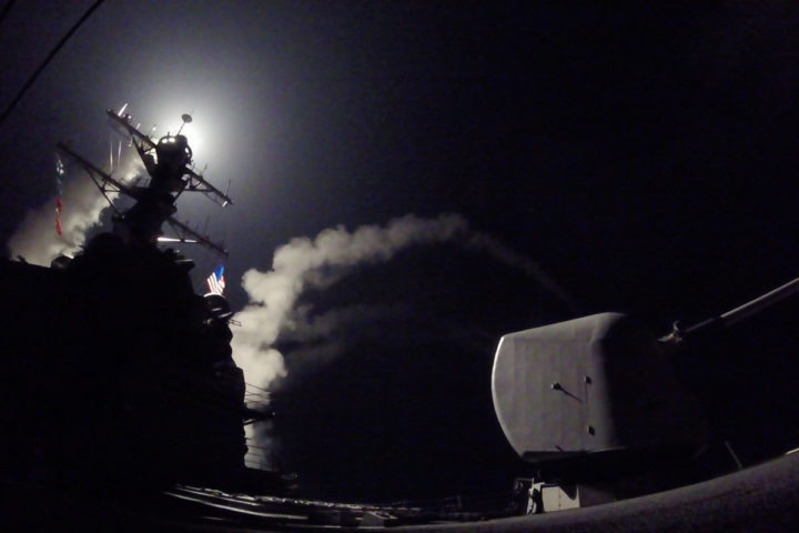 "2017-04-07 04:10:42 In this image released by the US Navy, the guided-missile destroyer USS Porter conducts strike operations while in the Mediterranean Sea, April 7, 2017. US President Donald Trump ordered a massive military strike on a Syrian air base on Thursday in retaliation for a ""barbaric"" chemical attack he blamed on President Bashar al-Assad. The missiles were fired from the USS Porter and the USS Ross, which belong to the US Navy's Sixth Fleet and are located in the eastern Mediterranean. / AFP PHOTO / US NAVY / Ford WILLIAMS / RESTRICTED TO EDITORIAL USE - MANDATORY CREDIT ""AFP PHOTO / US NAVY / Mass Communication Specialist 3rd Class Ford Williams"" - NO MARKETING NO ADVERTISING CAMPAIGNS - DISTRIBUTED AS A SERVICE TO CLIENTS"
