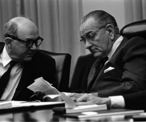 http://www.lbjlibrary.net/collections/photo-archive.html Serial Number (Please Retain for Reference): A5620-15a Date: 02/14/1968 Credit: LBJ Library photo by Yoichi Okamoto Event: Secy. Dean Rusk, Pres. Lyndon B. Johnson at a Cabinet meeting Description: Seated at table, in conversation (L-R:) Secy of State Dean Rusk, Pres. Lyndon B. Johnson Location: Cabinet Room, White House, Washington, DC Collection: White House Photo Office
