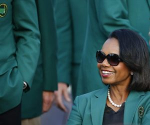 2014-04-12 00:00:00 epa04166586 Former US Secretary of State and Augusta National Golf Club member Condoleezza Rice during the green jacket ceremony at the 2014 Masters Tournament at the Augusta National Golf Club in Augusta, Georgia, USA, 13 April 2014. The Masters Tournament is held 10 April through 13 April 2014. EPA/ERIK S. LESSER