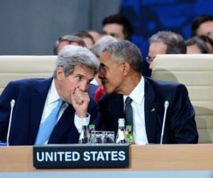 2016-07-08 00:00:00 epa05415389 US Secretary of State John Kerry (L) and US President Barack Obama (R) at the first plenary session of the North Atlantic Council during the NATO Summit at the National Stadium in Warsaw, Poland, 08 July 2016. The NATO Warsaw Summit which is expected to decide about military reinforcements on NATO territory in Central-East Europe takes place on 08 and 09 July. About 2,000 delegates, including 18 state heads, 21 prime ministers, 41 foreign ministers and 39 defence ministers will take part in the Summit. EPA/JACEK TURCZYK POLAND OUT