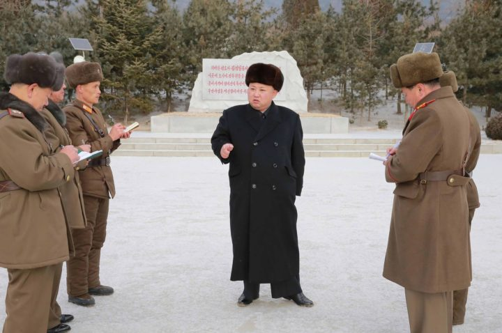 "2017-01-22 19:13:40 This undated picture released from North Korea's official Korean Central News Agency (KCNA) on January 22, 2017 shows North Korean leader Kim Jong-Un (C) inspecting Unit KPA 1314, honoured with the title of ""O Jung Hup-led 7th Regiment"", at an undisclosed location. / AFP PHOTO / KCNA VIA KNS / STR / South Korea OUT / REPUBLIC OF KOREA OUT ---EDITORS NOTE--- RESTRICTED TO EDITORIAL USE - MANDATORY CREDIT ""AFP PHOTO/KCNA VIA KNS"" - NO MARKETING NO ADVERTISING CAMPAIGNS - DISTRIBUTED AS A SERVICE TO CLIENTS THIS PICTURE WAS MADE AVAILABLE BY A THIRD PARTY. AFP CAN NOT INDEPENDENTLY VERIFY THE AUTHENTICITY, LOCATION, DATE AND CONTENT OF THIS IMAGE. THIS PHOTO IS DISTRIBUTED EXACTLY AS RECEIVED BY AFP. /"