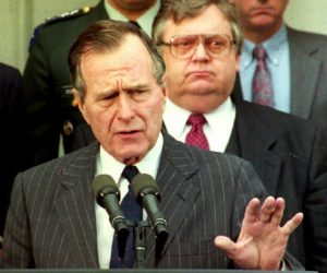 1992-12-30 00:00:00 U.S. President George Bush announces plans during a 30 December 1992 press briefing to meet with Russian President Boris Yeltsin this coming weekend. Standing with President Bush are Secretary of State Lawrence Eagleburger(C), Chairman of the Joint Chiefs of Staff General Colin Powell(L-R), and an unidentified man (R-R).