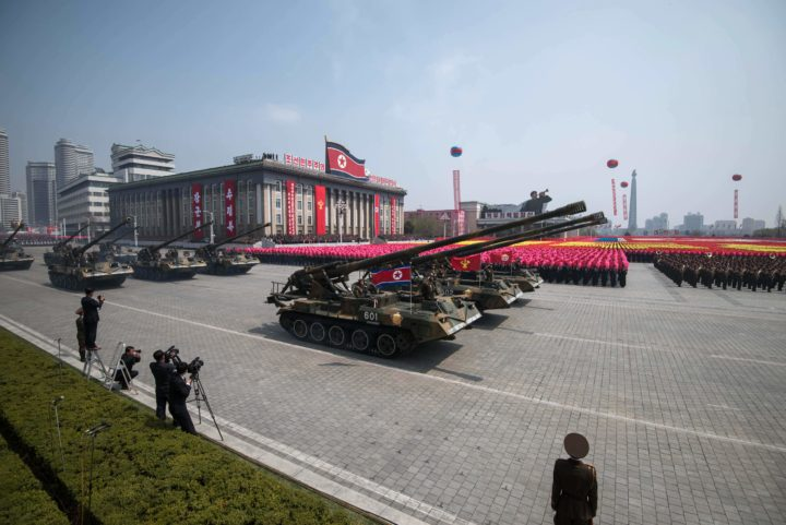 2017-04-15 12:01:44 Korean People's Army (KPA) tanks are displayed on Kim Il-Sung square during a military parade marking the 105th anniversary of the birth of late North Korean leader Kim Il-Sung in Pyongyang on April 15, 2017. North Korean leader Kim Jong-Un on April 15 saluted as ranks of goose-stepping soldiers followed by tanks and other military hardware paraded in Pyongyang for a show of strength with tensions mounting over his nuclear ambitions. / AFP PHOTO / Ed JONES