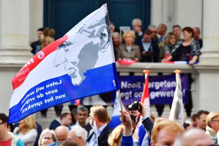 2017-05-06 16:16:43 ROTTERDAM - Aanwezigen tijdens de herdenking van de vermoorde politicus Pim Fortuyn. De politicus werd 15 jaar geleden op het Mediapark in Hilversum doodgeschoten. ANP ROBIN UTRECHT