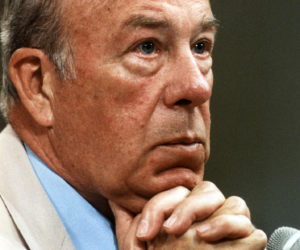 1987-07-23 00:00:00 US Secretary of State George Shultz listens to a question during his first day of testimony before Iran-Contra investigators 23 July 1987, Washington,DC. Shultz testified that other Reagan Administration officials kept him in the dark about key events in the affair. AFP PHOTO/Chris WILKINS