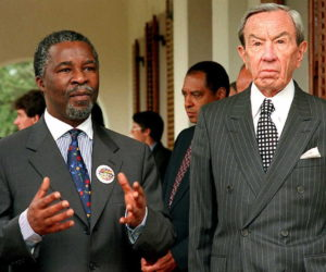 1996-10-12 00:00:00 Warren Christopher, US Secretary of State (R) and South African Deputy President Thabo Mbeki (L) face the press after meeting at the Homestead, the Deputy President's residence in Cape Town 12 October. Christopher is on a brief official visit to the country. AFP PHOTO