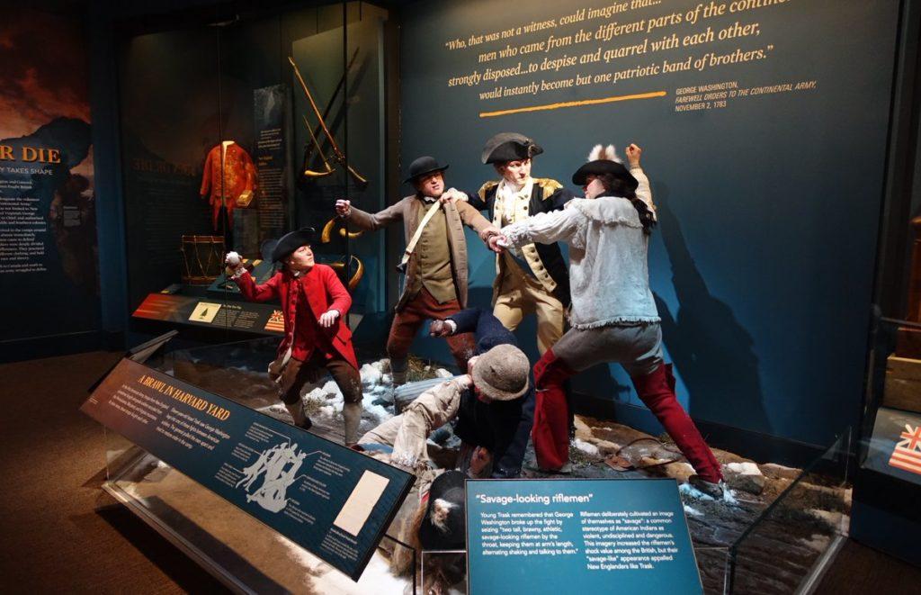 Amerikaanse soldaten gaan met elkaar op de vuist - George Washington moest volgens de overlevering tussenbeide komen.