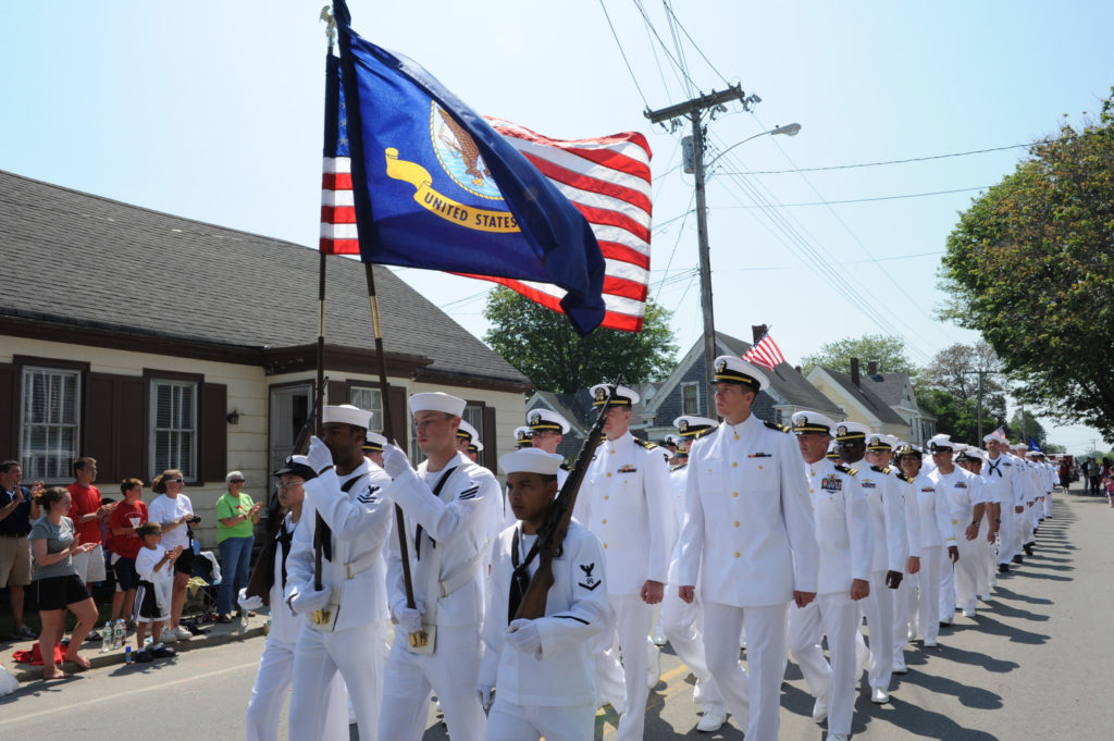 110704-N-GA722-440 EASTPORT, MAINE (July 4, 2011) Sailors assigned to the guided-missile destroyer USS Nitze (DDG 94) march in the Independence Day Parade as part of Maine's Independence Day celebration. (U.S. Navy photo by Ensign Joe Keiley/Released)