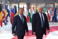 Nerveuze EU-leiders ontvangen Trump in Brussel