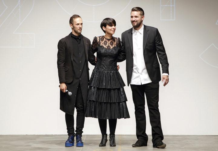 Van links af: de organisatoren Branko Popovic, Nawie Kuiper en Laurens Hamacher