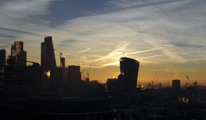 "2017-01-18 10:13:45 Skyscrapers, including 20 Fenchurch Street, known as the ""Walkie-Talkie"" building (C), and The Shard (R), are pictured in London at sunrise on January 18, 2017. British business leaders welcomed British Prime Minister Theresa May on her Brexit clarity Tuesday but insisted the UK prime minister must deliver on her pledge to secure access to the EU single market. In a speech yesterday, May said Britain would pull out of the European single market to control EU immigration, as she unveiled plans for a clean break from Brussels for the first time. / AFP PHOTO / Daniel SORABJI"