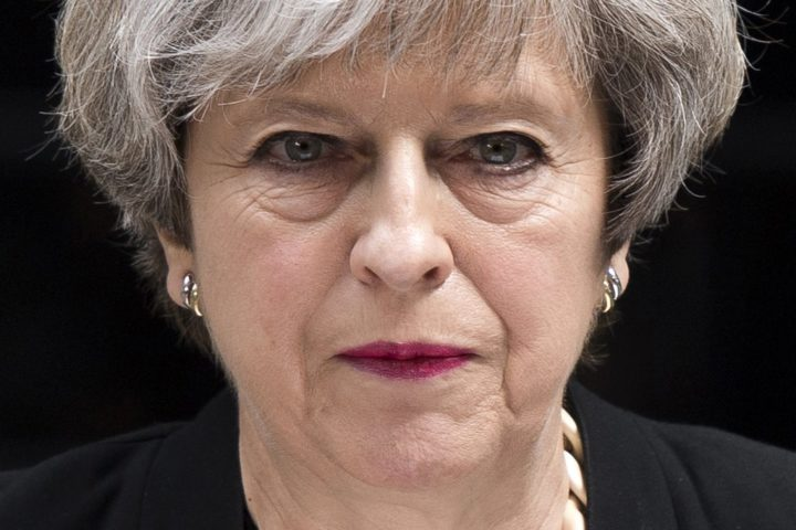 2017-06-04 10:51:58 epa06009500 British Prime Minister Theresa May delivers a statement on the previous night's terrorist incident, at Downing Street, in London, Britain, 04 June 2017. At least seven members of the public were killed and dozens injured after three attackers on late 03 June plowed a van into pedestrians and later randomly stabbed people on London Bridge and nearby Borough Market. The three attackers wearing fake suicide vests were shot dead by police who is treating the attack as a 'terrorist incident.' EPA/WILL OLIVER