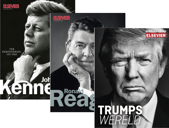 Presidentieel pakket - Special Editions over drie presidenten van Amerika: Trump, Reagan en Kennedy.
