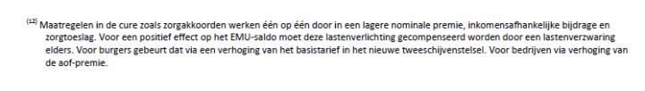 Lastenverhoging, Rutte III, regeerakkoord, bezuiniging zorg