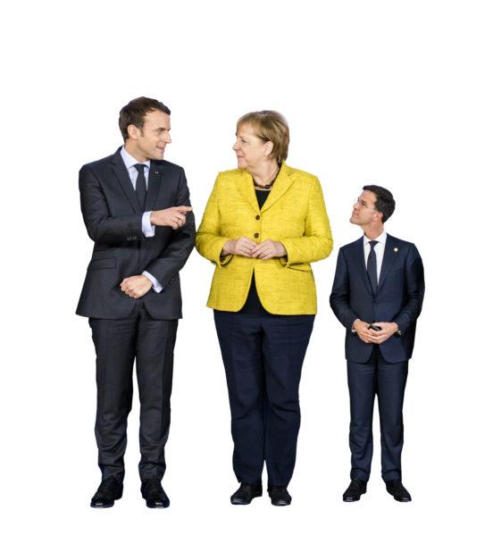Is premier Rutte (rechts) na Franse president Macron (links) en Duitse kanselier Merkel de derde sterkste speler in Europese machtsspel? Foto:ANP