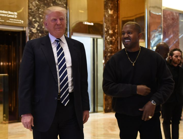 De president van Amerika, Donald Trump, samen met popartiest, Kanye West