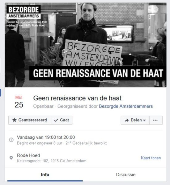 Demonstratie FvD-lezing Facebook