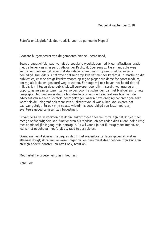 ontslagbrief Karaktermoord door Pechtold': de ontslagbrief van D66 raadslid