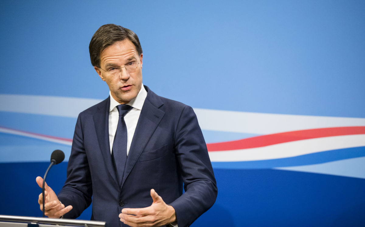 Premier Rutte op zijn wekelijkse persconferentie