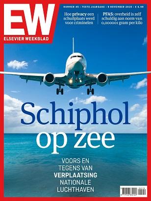 "Cover Elsevier Weekblad editie 45 2019 ""Schiphol op zee"""