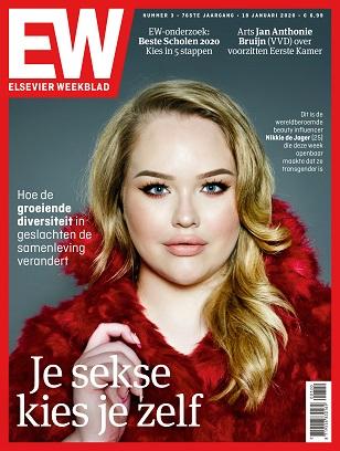 """Cover Elsevier Weekblad editie 3 2020 Nikkie de Jager. """"Je sekse kies je zelf """""""