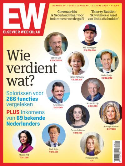 """cover Elsevier Weekblad editie 26 2020 onderzoek over salarissen, """"Wie verdient wat? """""""