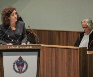 Minister Ingrid van Engelshoven (D66) tijdens de opening van het academisch jaar in Nijmegen. Foto: ANP