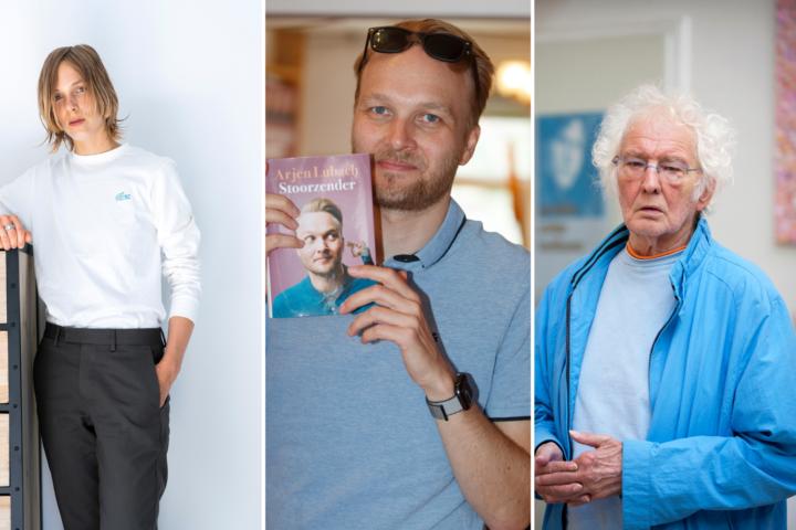 V.l.n.r. Marieke Lucas Rijneveld, Arjen Lubach, Jan Wolkers. Beeld: ANP
