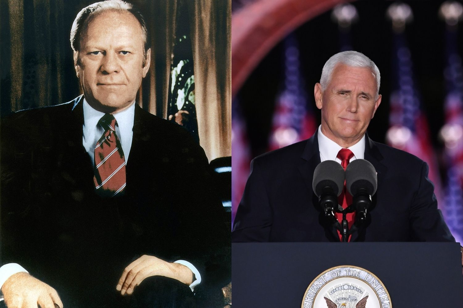 Gerald Ford, links, en Mike Pence, rechts. Foto: ANP